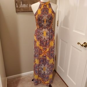 As U Wish Yellow Halter Maxi Dress Small